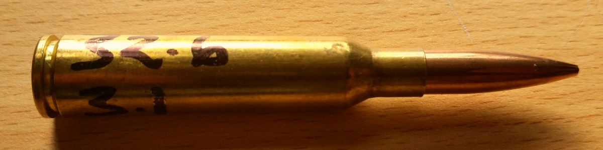 """6.5x55 with a 32.6 gr charge and a 3.100"""" (78.75 mm) COAL."""