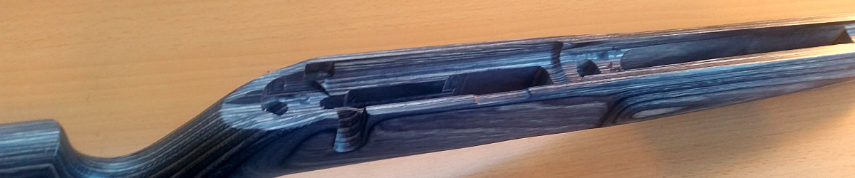 Boyds Pro Varmint stock for JW-15, showing inletting.