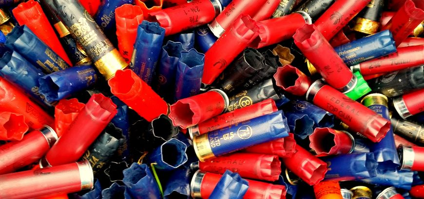 Spent shotgun shells at Waitemata Clay Target Club.