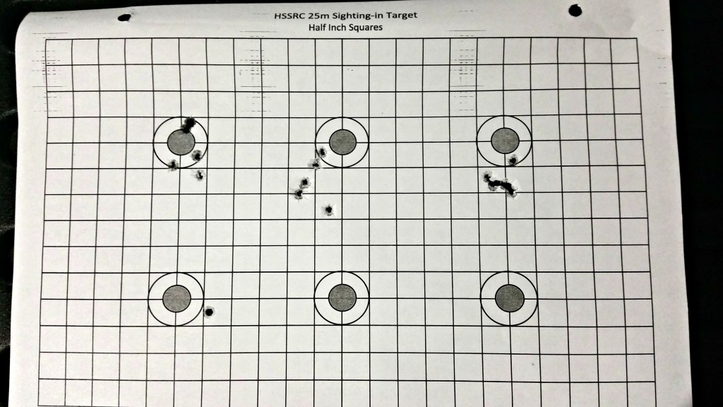 The top right target is 5 CCI SV rounds put through the V can suppressor, showing no loss in accuracy. The bottom left is the initial HP Sub through the bottom of the can.