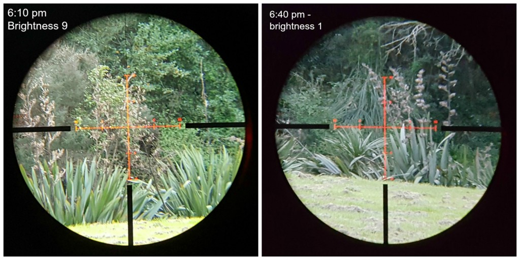 Excuse the poor resolution - that's me trying to take a picture through the scope with my cell phone. But, these shots do illustrate how much light you get in the evening, as well as how clear the illuminated reticle is. The first image is 5 minutes before sunset, the second is 25 minutes after sunset.