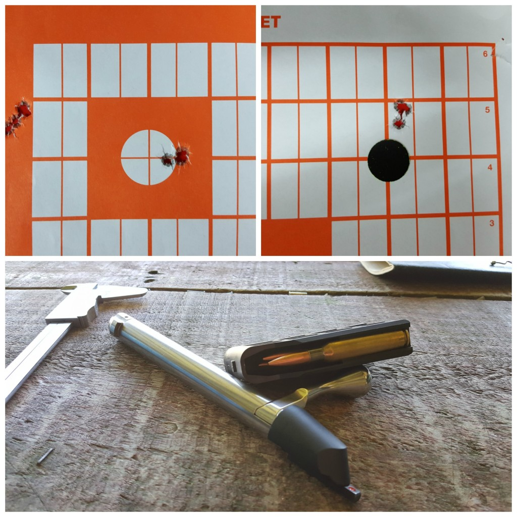 Consistent groups around 0.2 - 0.25 MOA showed the efficacy of the T3 and PST combo. The above was shoot off of a bipod and rear bag at 100 metres. The load was a 142 gr SMK sitting on top of 40 gr of AR2208 (Varget).