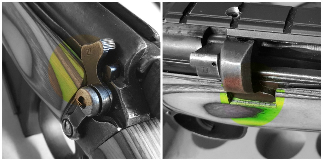 A radius and a square cut will make room for the safety lever and the rear action ring.