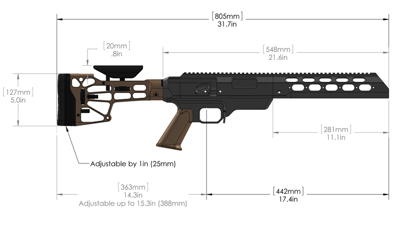 The TAC21 by Modular Driven Technologies (MDT). Note the dimensions are for a Remington 700 SA. [Image credit: MDT]
