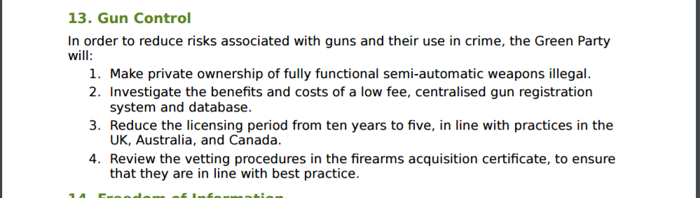 The Greens firearm policy has not changed since 2014. All items are as expected from this party. Except number 4. This doesn't exist in New Zealand - this is from some other country's laws. Canada, maybe?